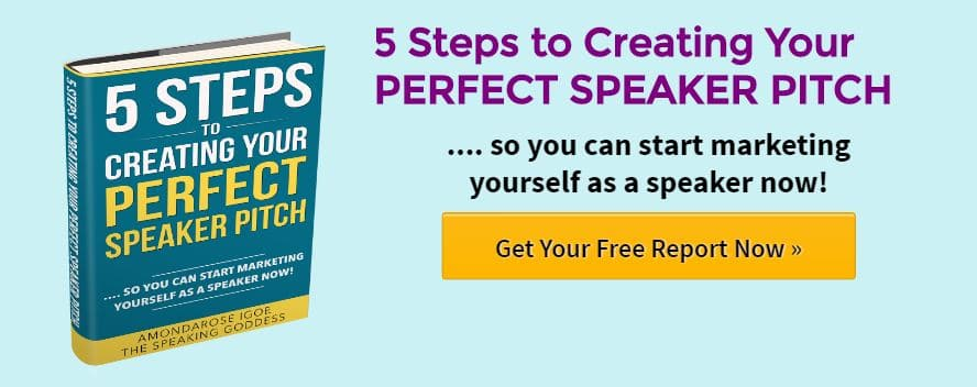blue banner with book cover, 5 steps to creating your perfect speaker pitch