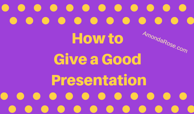 purple background with gold lettering, how to give a good presentation