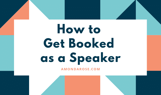 rectangular image with green and orange color elements and green lettering how to get booked as a speaker