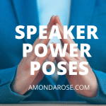 business woman in blue suit, folding her hands, 3 Speaker Power Poses that Will Increase Your Presentation Results