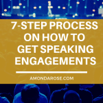 orange box with white lettering, 7-step process on how to get speaking engagements with blue night city skyline