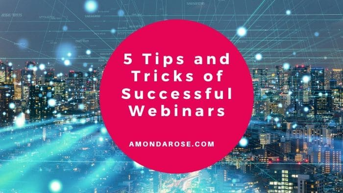 highways in a city in the night, red dot with white lettering, 5 Tips and Tricks of Successful Webinars
